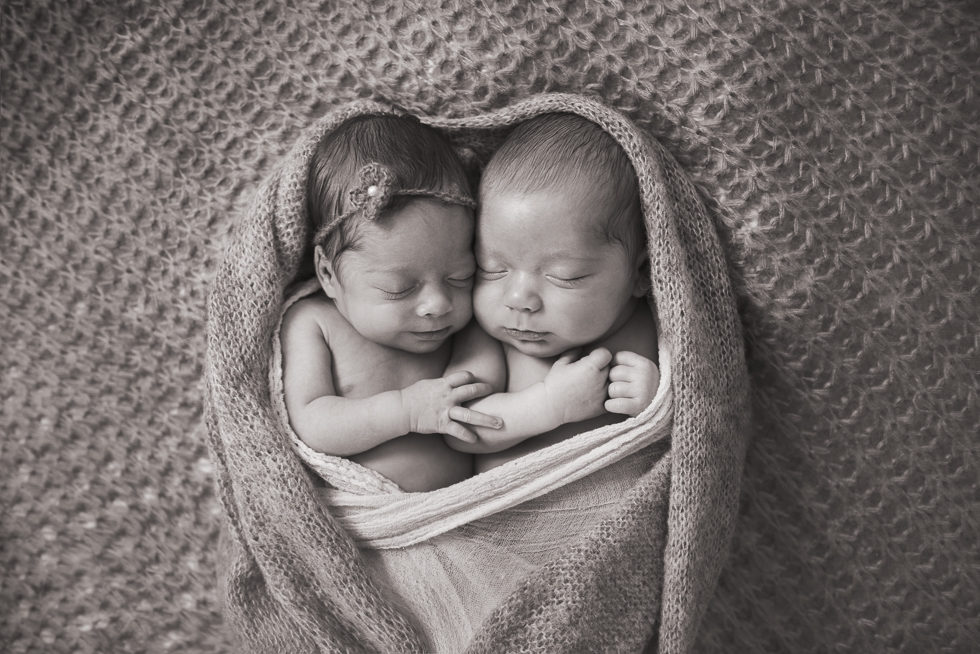Black and white twin newborn photography session